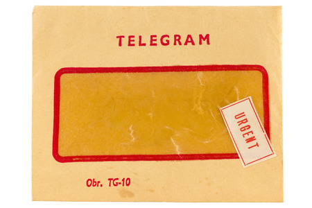 telegram: Old telegram envelope with urgent mark isolated on white
