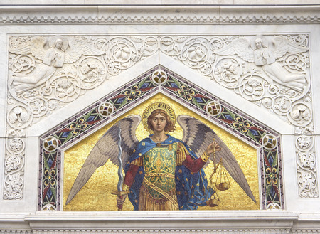 saint michael: Mosaic of Saint Michael on the facade of  Serbian Orthodox Church in Trieste Stock Photo