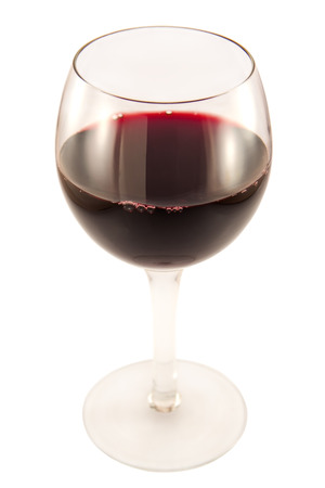 glass bottle: Glass  of red wine on a white background