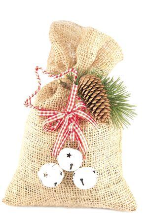 Burlap bag with the Christmas decoration photo