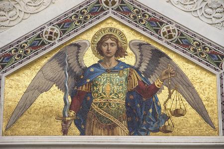 Mosaico di San Michele sulla facciata della Chiesa Ortodossa Serba a Trieste Archivio Fotografico - 36395509