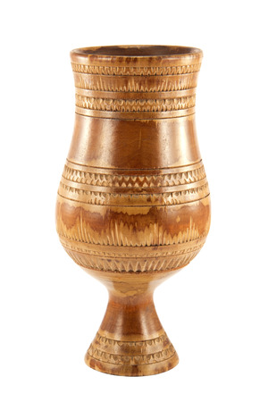 wine trade: Antique wooden cup on a white background