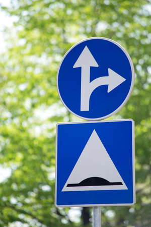 two arrows: Traffic sign with two arrows pointing in different directions