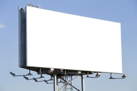 billboard blank: Blank billboard over a blue sky