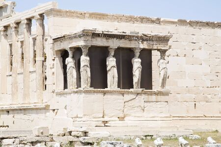 caryatids: Erechtheion with Porch of the Caryatids on Athens Acropolis, Greece