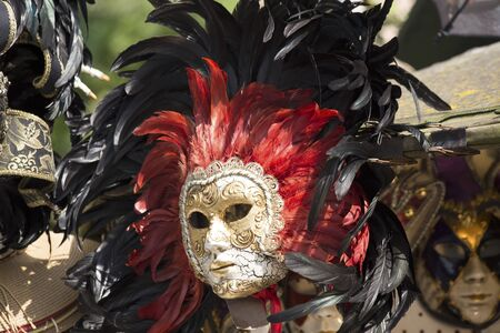festal: Carnival mask with the red and black feather Stock Photo