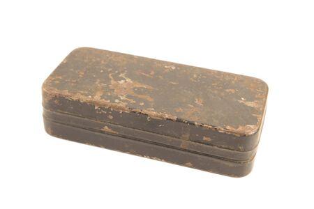 metal box: Antique rusty metal box isolated Stock Photo