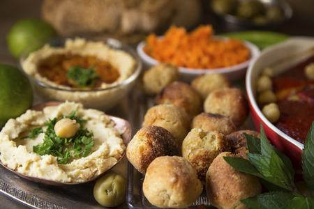 Hummus and falafel close up