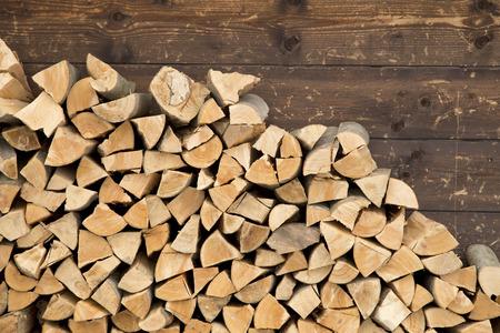 Stapel brandhout Stockfoto