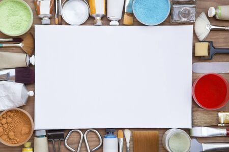 wooden background: Painting equipments close up as background Stock Photo