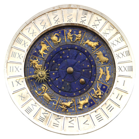 Zodiac clock at San Marco square in Venice isolated
