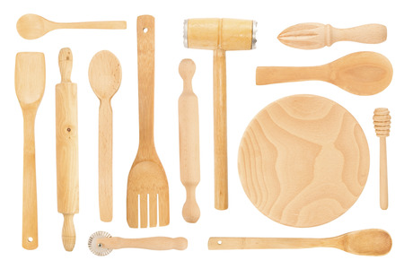 kitchen tool: Set of the wooden kitchen utensils on a white background