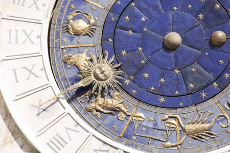 solar symbol: Detail of Zodiac clock at San Marco square in Venice