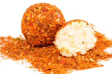 chilly: Cheese balls with the chilly pepper Stock Photo