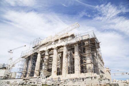 scaffolds: Restoration of the Parthenon on Acropolis, Athens Stock Photo