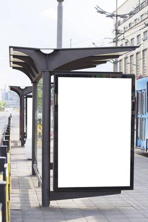 tramway: Blank billboard on a tramway station
