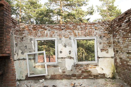 trashed: Abandoned ruined roofless home Stock Photo