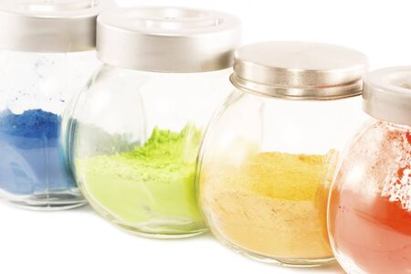 pigments: Colorful pigments in the glass jars