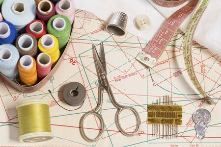 sewing pattern: Sewing items on a sewing pattern