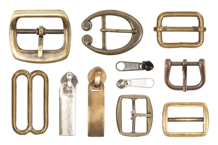 buckles: Belt buckles isolated on white