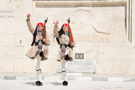 The Guard in front of the Greek Parliament May 17. 2014. Athens Greece Standard-Bild