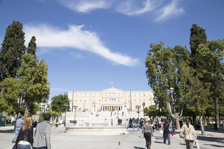 syntagma: The Greek Parliament Area and Syntagma Square May 17. 2014. Athens Greece