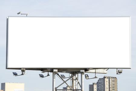 青い空にブランクの看板 写真素材