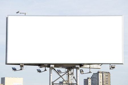 Blank billboard over a blue sky