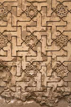 the  alhambra: Lacework stucco in the Alhambra of Granada -  Spain