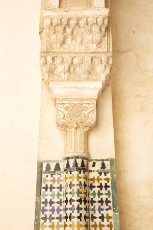 stucco texture: Architecture detail in the Nasrid Palaces of the Alhambra of Granada, Spain