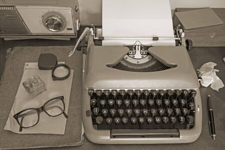 toned image: Vintage office equipment - toned image