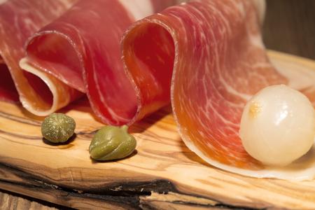 caper: Prosciutto with the pickled onion and caper