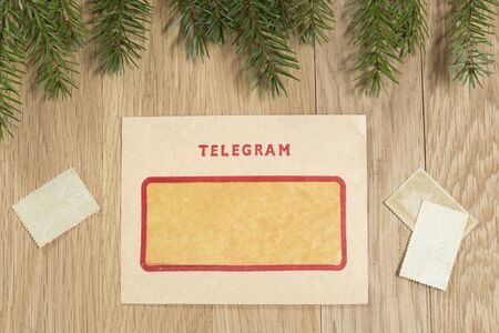 telegram: Christmas background with the vintage telegram Stock Photo