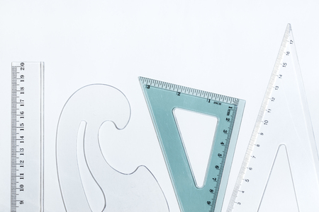 ruler: Plastic rulers on a white background