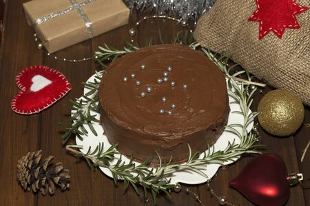 torte: Chocolate torte and the Christmas decoration Stock Photo