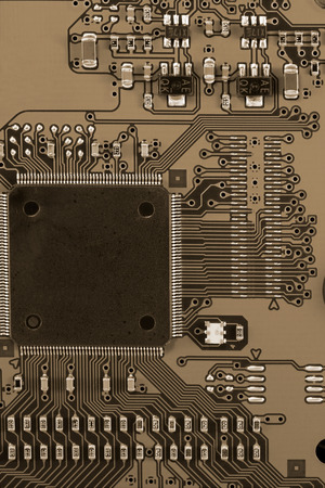 toned: Detail of the electronic mother board - toned image