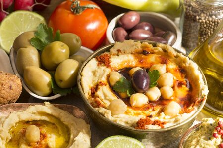 lebanese food: Hummus and falafel meal with ingredients