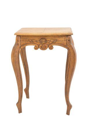 arredamento classico: tavolo di legno antico isolato su bianco