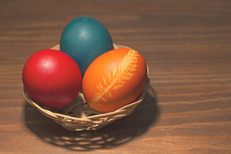toned: Easter eggs in the basket - toned image