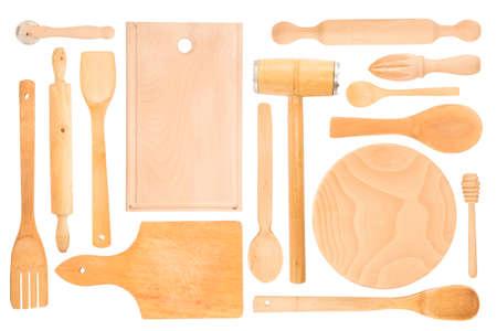 wood craft: Set of the wooden kitchen utensils Stock Photo