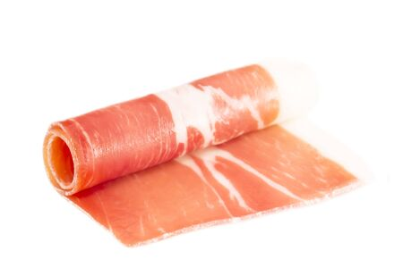 fast meal: Prosciutto roll isolated Stock Photo