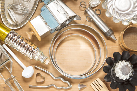 kitchen utensil: Vintage kitchen utensil on wooden background