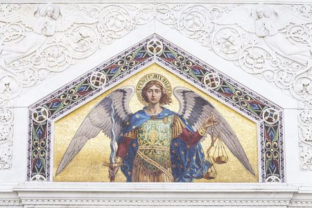 saint michael: Mosaic of Saint Michael on the facade of  the Serbian Orthodox Church in Trieste