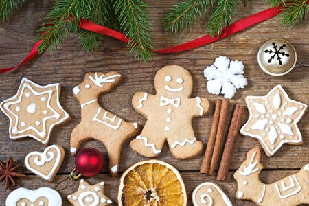 gingerbread cookies: Christmas background with gingerbread cookies Stock Photo