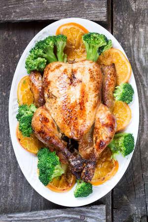 garnish: Roasted chicken with garnish