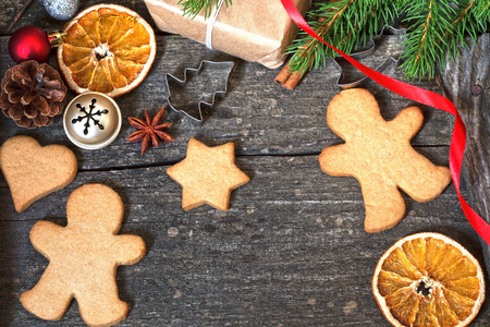 Christmas background with the gingerbread cookies