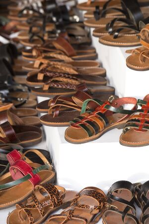Leather slippers on a market Stock Photo