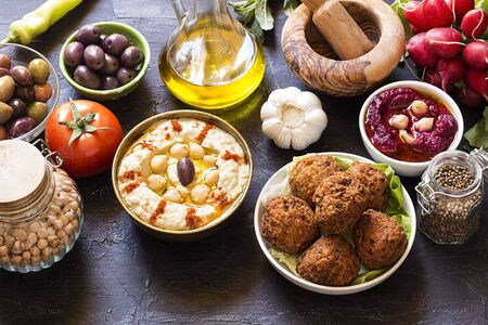 Hummus and falafel with the fresh vegetables Stock Photo