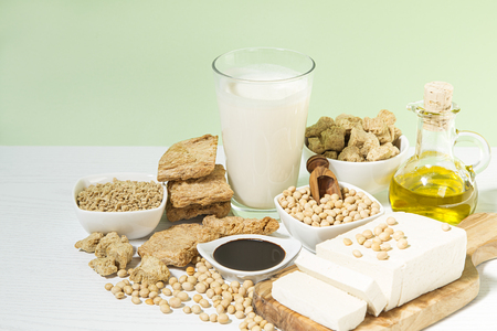 Various soy products on a table