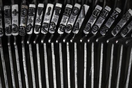 Vintage typewriter letters close up